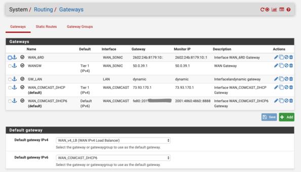 pfSense Gateway Settings